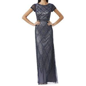 Adrianna Papell Diamond Beaded Overlay Gown